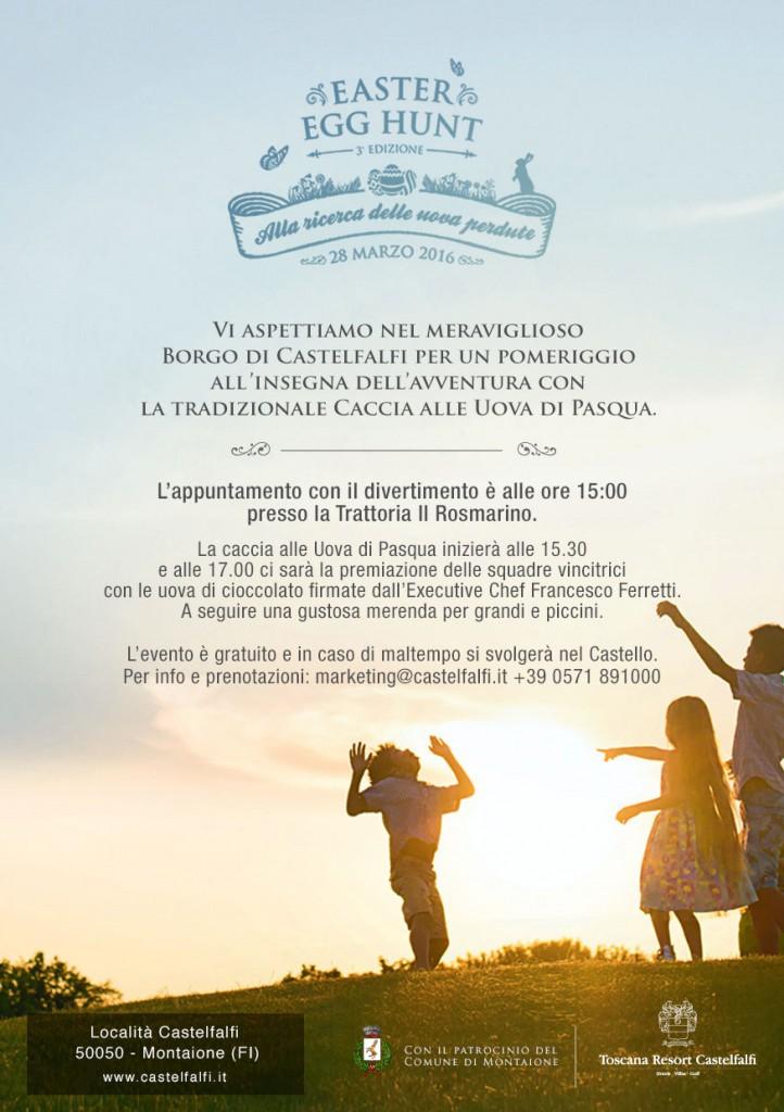 L'evento sta diventando un appuntamento annuale il giorno di Pasquetta. Un pomeriggio organizzato da Toscana Resort Castelfalfi, con il patrocinio del Comune di Montaione. Siamo alla terza edizione e si svolgerà nella splendida cornice della Tenuta.