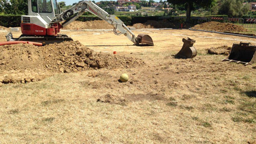 I lavori in corso per il campo da Beach Volley